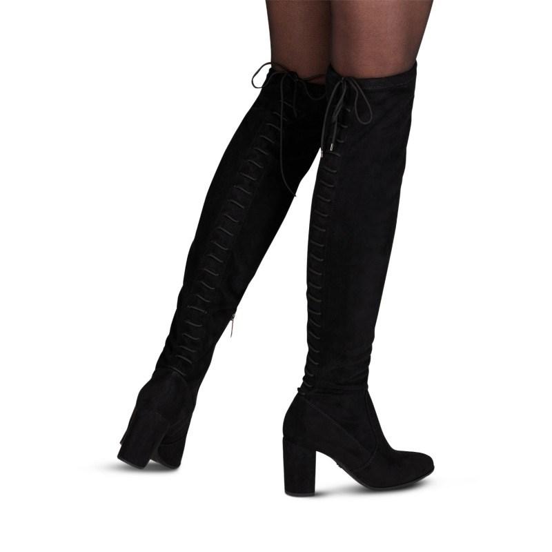 Дамски ботуши чизми на висок ток Tamaris стреч черни ANTISLIDE TOUCH IT