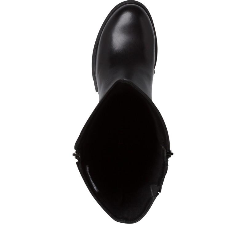 Дамски ботуши от естествена кожа Tamaris черни TOUCH IT мемори пяна