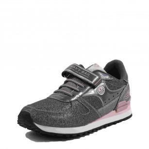Детски спортни обувки с връзки B.Basile сиви/розови