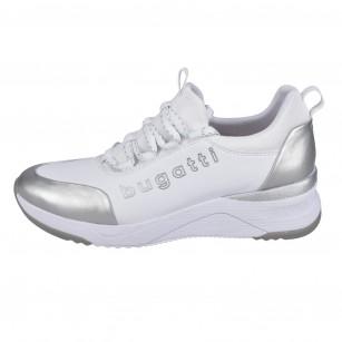 Дамски спортни обувки на платформа  Bugatti® бели/сребристи