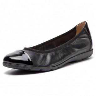 Дамски равни обувки пантофки от естествена кожа Caprice черни