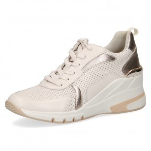 Дамски спортни обувки на платформа Caprice естествена кожа крем
