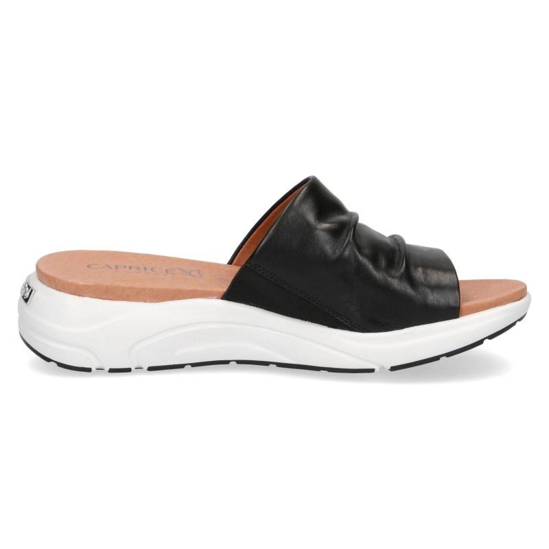 Дамски ежедневни чехли Caprice естествена кожа ширина H черни