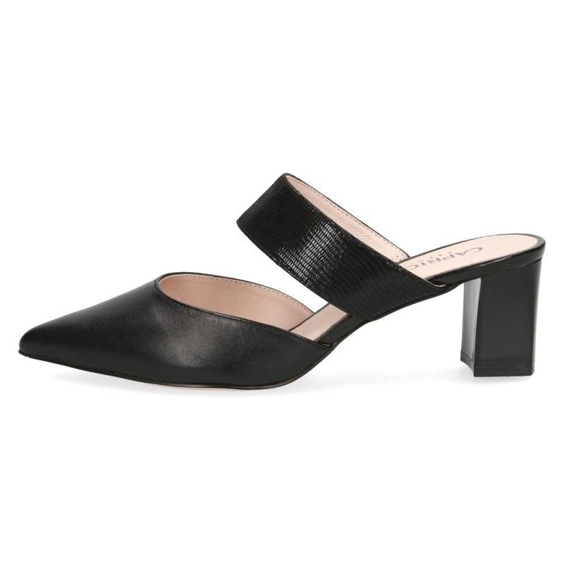 Елегантни дамски чехли на ток Caprice естествена кожа черни Premium