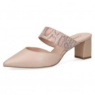 Елегантни дамски чехли на ток Caprice естествена кожа бежови Premium