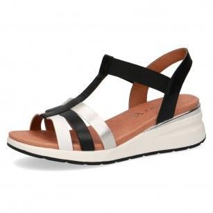 Дамски сандали на платформа Caprice естествена кожа черни/сребристи