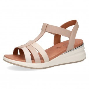 Дамски сандали на платформа Caprice естествена кожа бежови