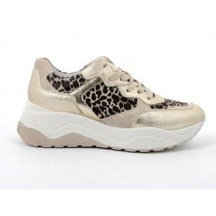 Дамски обувки с връзки IGI & CO на платформа черни/златисти
