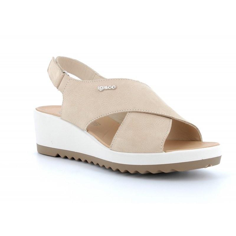 Дамски сандали IGI & CO естествена кожа на платформа бежови