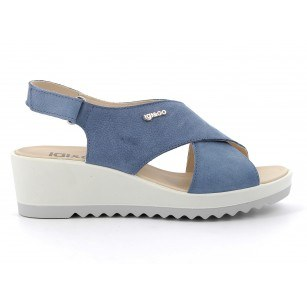 Дамски сандали IGI & CO естествена кожа на платформа сини