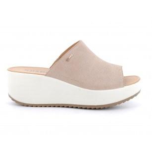 Дамски чехли IGI & CO естествена кожа на платформа цвят пудра