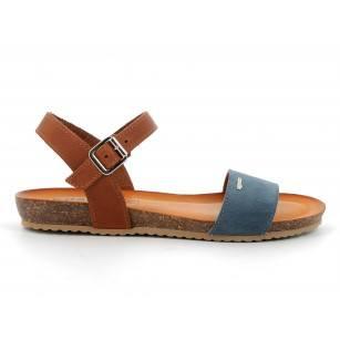 Дамски равни сандали IGI & CO естествена кожа сини/кафяви