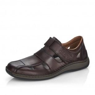Мъжки летни обувки от естествена кожа Rieker кафяви 05269-25