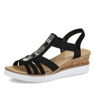 Дамски ежедневни сандали на платформа Rieker ANTISTRESS V38F9-00 черни