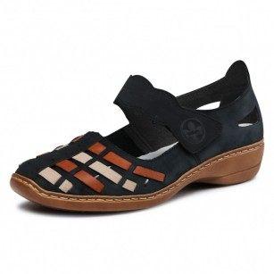 Дамски обувки естествена кожа Rieker ANTISTRESS 41369-14 сини