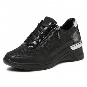 Дамски спортни обувки на платформа Rieker Antistress N4313-00 черни