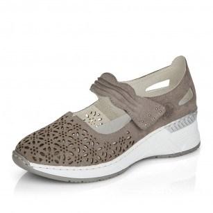 Дамски обувки естествена кожа Rieker ANTISTRESS N4367-42 сиви