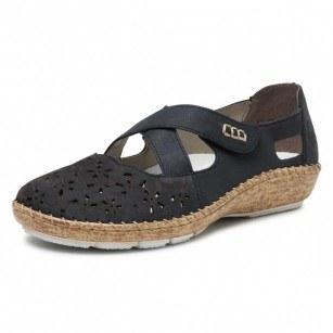 Дамски равни обувки естествена кожа Rieker ANTISTRESS 44856-14 сини