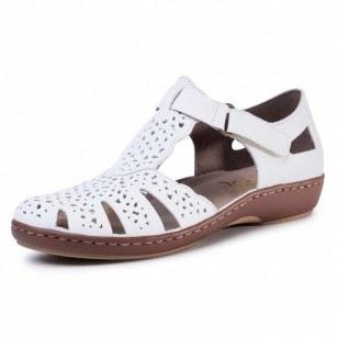 Дамски равни обувки естествена кожа Rieker ANTISTRESS 45885-80 бели