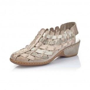 Дамски летни обувки на ток Rieker 47156-43 бежови