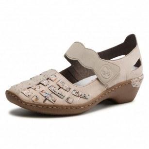 Дамски обувки естествена кожа Rieker ANTISTRESS 48369-60 бежови