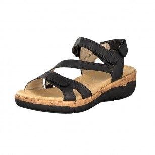 Дамски анатомични сандали естествена кожа Remonte R6850-01 черни