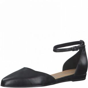 Дамски равни обувки Tamaris естествена кожа мемори пяна черни