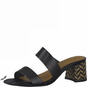 Елегантни дамски чехли на ток Tamaris естествена кожа Touch It®, ANTISLIDE®, ANTISHOKK® черни