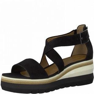 Дамски сандали на платформа Tamaris естествена кожа Touch It® черни
