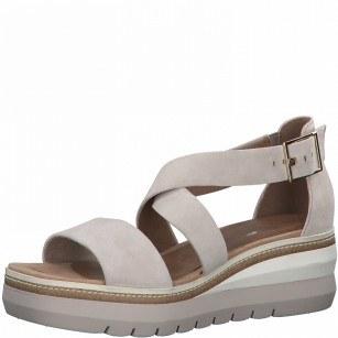 Дамски сандали на платформа Tamaris естествена кожа Touch It® розови