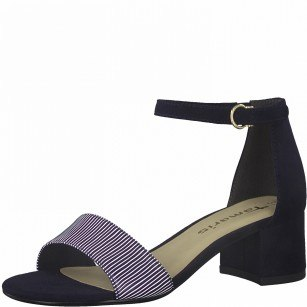 Дамски елегантни сандали на нисък ток Tamaris сини