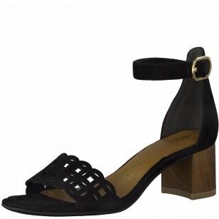 Дамски сандали на ток Tamaris естествена кожа ANTISLIDE® Touch It® черни