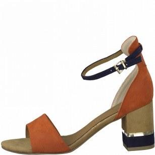 Дамски елегантни сандали на среден ток Marco Tozzi оранжеви