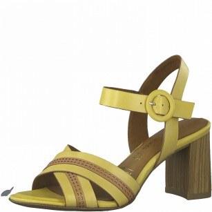 Дамски сандали на ток Tamaris естествена кожа Touch It®, ANTISLIDE®, ANTISHOKK® жълти