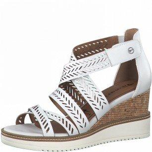 Дамски сандали на платформа Tamaris естествена кожа Touch It® бели