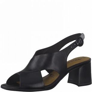 Дамски сандали на ток Tamaris естествена кожа Touch It® , ANTISLIDE® черни