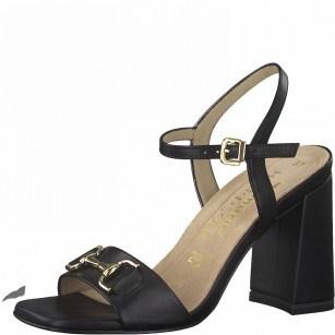 Дамски сандали на ток Tamaris естествена кожа ANTISLIDE® ANTISHOKK®  ширина F1/2 черни