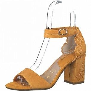Дамски сандали на ток естествена кожа Tamaris Touch It® цвят Манго