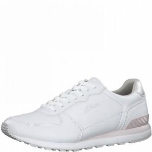 Дамски спортни обувки S.Oliver Soft Foam с връзки бели