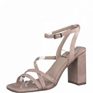Дамски сандали на висок ток с мека стелка S.Oliver розови
