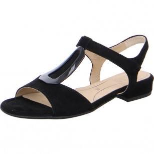 Дамски сандали на нисък ток Ara естествена кожа High Soft черни