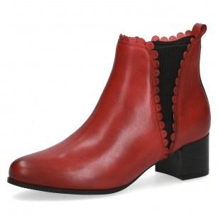 Дамски боти на ток Caprice CLIMOTION® естествена кожа червени