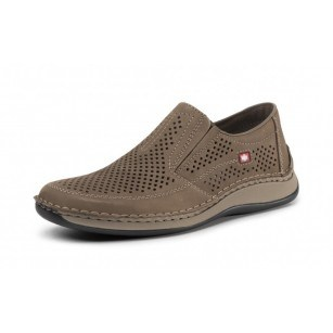Мъжки ежедневни обувки без връзки естествена кожа Rieker 05277-64 бежови