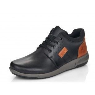 Мъжки ежедневни обувки с връзки естествена кожа Rieker B0920-00 черни