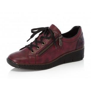 Дамски ежедневни обувки с връзки Rieker Antistress 53702-35 бордо