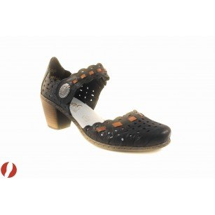 Дамски кожени обувки на среден ток Rieker черен