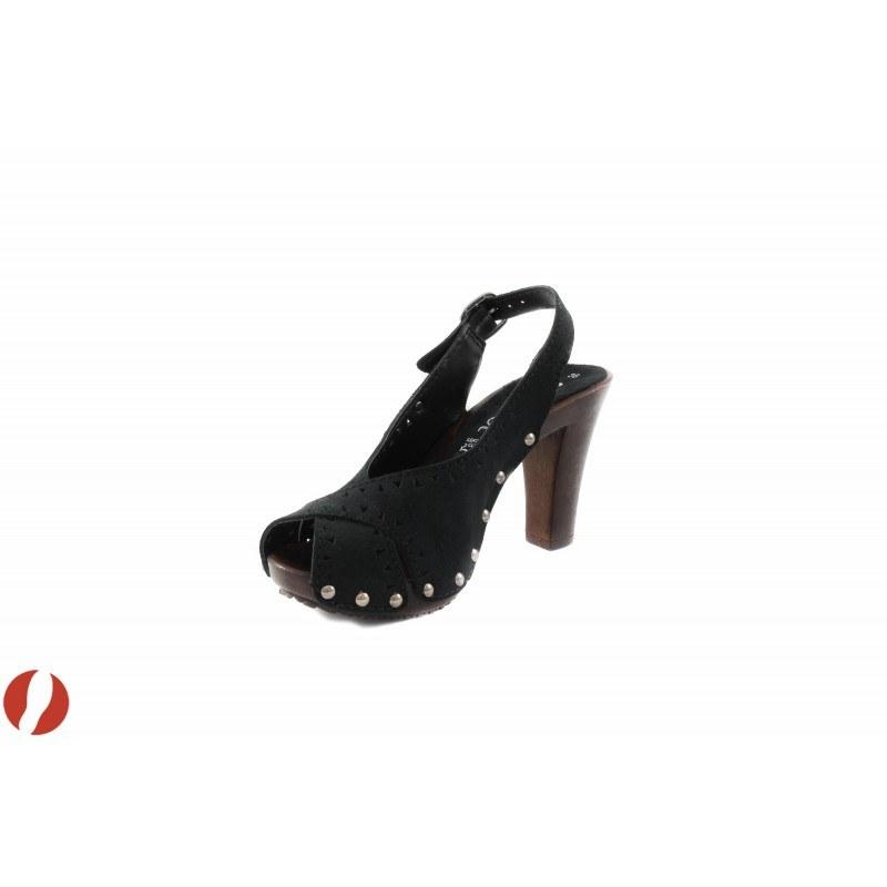 Дамски сандали на ток черен велур S.Oliver 28337001