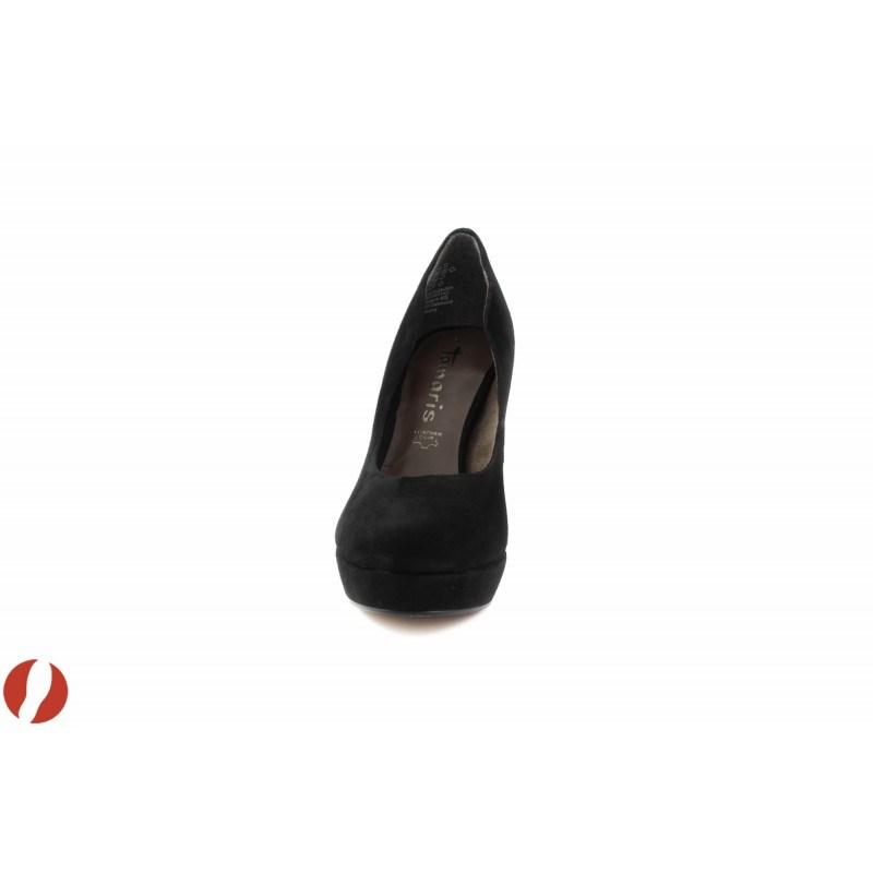 Дамски обувки на висок ток черен велур Tamaris 22419001
