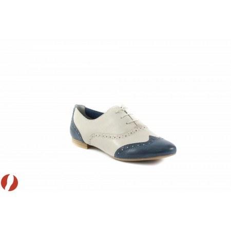 Дамски обувки с връзки бели/сини Tamaris Oxford Ballroom