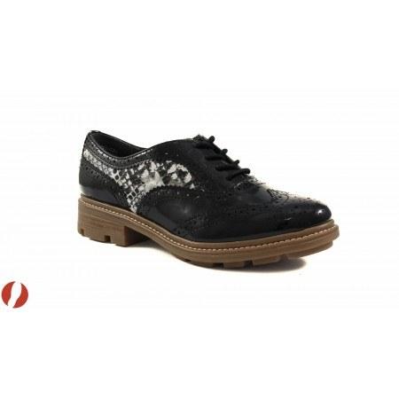 Дамски обувки с грайфер Tamaris черен лак / змийски принт 23700016